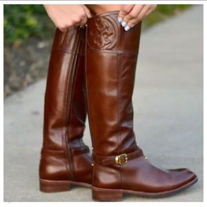 Tory Burch Marlene Leather Logo Riding Boots